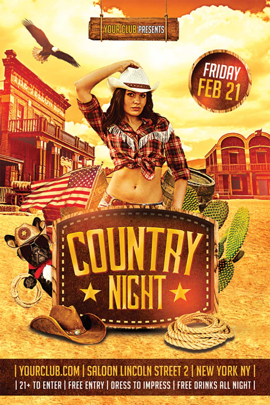 Western Country Flyer Template