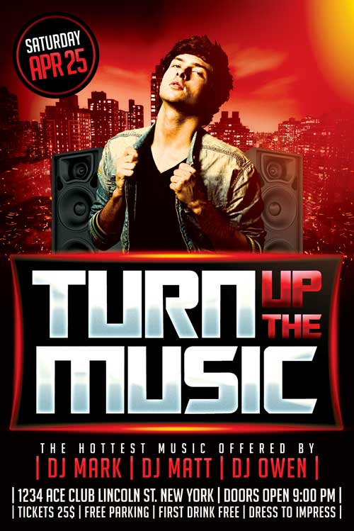 Turn Up The Music Flyer Template