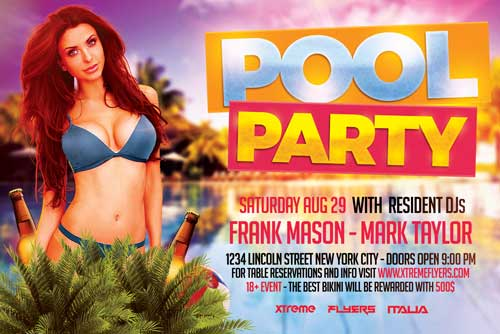 Horizontal Pool Party Flyer Template