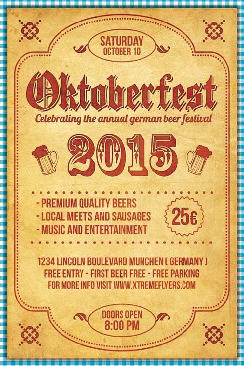 Vintage Oktoberfest Flyer Template PSD