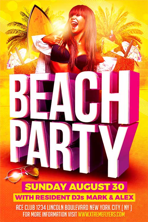 Beach Summer Party Flyer Template