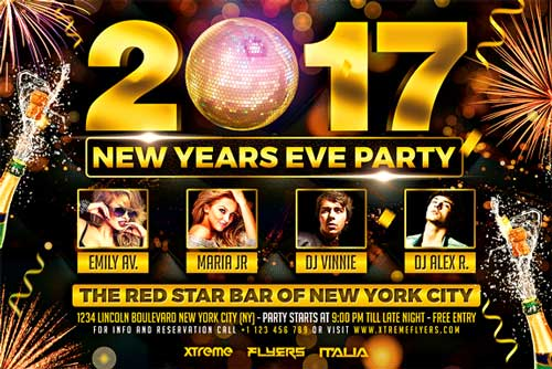 New Years Eve Horizontal Flyer Template